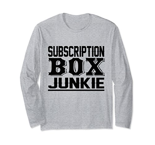 Unisex Funny Subscription Box Junkie Long Sleeve Shirt XL: Heather - Boxes Subscription Unisex
