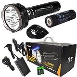 2016 Edition FENIX RC40 6000 Lumen Rechargeable Cree XM-L2 U2 LED Flashlight/ Searchlight, Car / Home charger, Fenix ARB-L3 7800mAh battery with EdisonBright battery sampler bundle