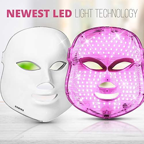 7 Colors LED Light Therapy Mask With Free Skincare & Anti-Aging Natural tips E-book | Your Perfect Red Light Therapy Facial Machine and Acne Mask by GOBIES