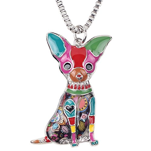 BONSNY Love Pets Enamel Zinc Alloy Metal Chihuahua Necklace Dog Animal Pendant 18