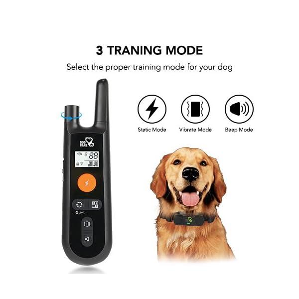 Dog Training Collar - Rechargeable Dog Shock Collar w/3 Training Modes, Beep, Vibration and Shock, 100% Waterproof Training Collar, Up to 1000Ft Remote Range, 0~99 Shock Levels Dog Training Set 2