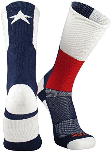 TCK Sports Texas Flag Crew Socks, Large - Sports Texas