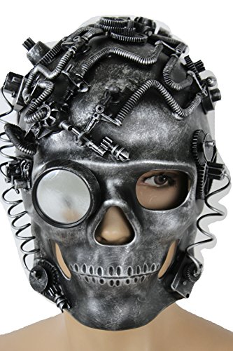 Cm Punk Costume Party City (TFJ Women Full Face Halloween Skeleton Skull Mask Fashion Costume Black Silver Steampunk Futuristic Robot Pirate Dead)