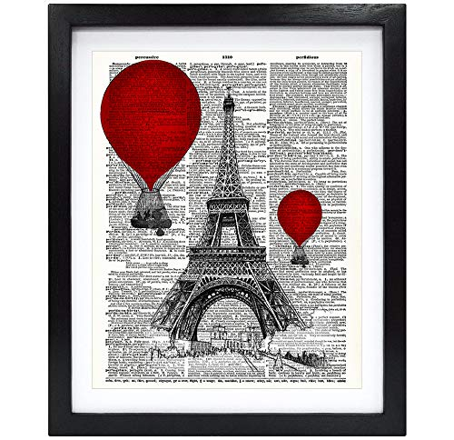 Susie Arts 8X10 Unframed Eiffel Tower and red hot air Balloon Paris Art Print Friends Gift Living Room Kids Room Art Upcycled Vintage Dictionary Art Print Book Art Print Home Decor Wall Art V189