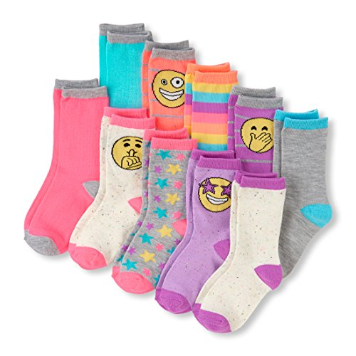 - The Children's Place Big Girls' 10 Multipack Emoji Crew Socks, Multi CLR, M 1-2