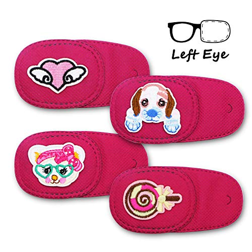Astropic 4Pcs Lazy Eye Patches for Kids Adults Eye Patch for Glasses Medical Patch for Amblyopia Strabismus and After Surgery (Left Eye, Pink) (Patch Kids Glass Eye)