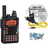 Yaesu VX-6R Tri-Band Amateur Hand-Held Transceiver Bundle with RT Systems Programming Software/Cable Kit and Ham Guides TM Quick Reference Card