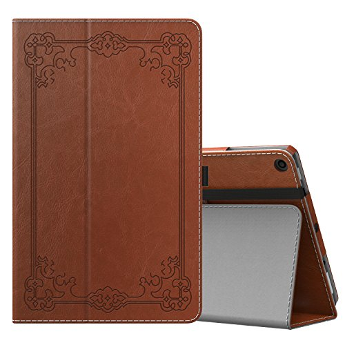 MoKo Case for All-New Amazon Fire HD 10 Tablet (7th Generation, 2017 Release) - Slim Folding Stand Cover with Auto Wake / Sleep for Fire HD 10.1 Inch Tablet, Vintage Style