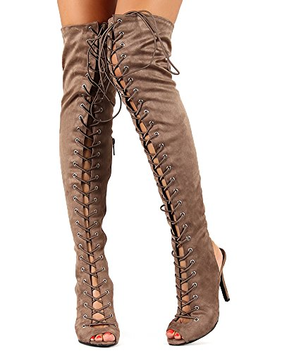Breckelle's Womens Randi-23 Faux Suede Lace up Back Thigh High Boots Taupe Imsu