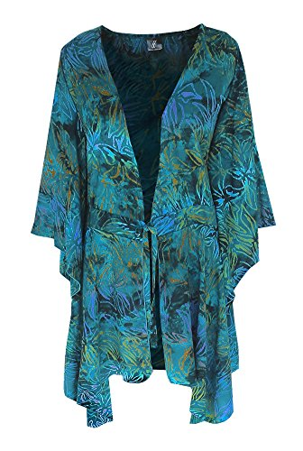 Kimono PLUS SIZE | Women's Kimono Sleeve Cardigan | Handmade Plus Sizes for Full Figures (One Size: 2X/3X, Cyan, Yellow Orche, Lavender, Navy)