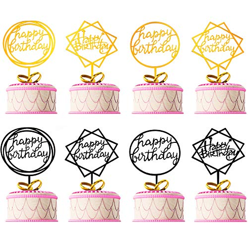 Tatuo 8 Pieces Happy Birthday Cake Topper Acrylic Cupcake Toppers Party Supplies for Birthday Cake Favor, Gold and Black