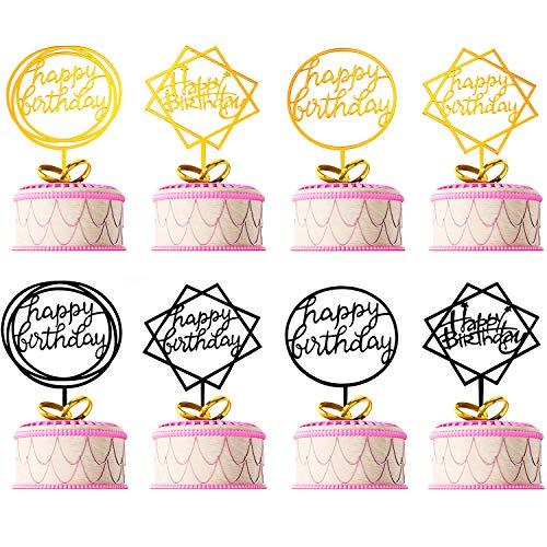 Tatuo 8 Pieces Happy Birthday Cake Topper Acrylic