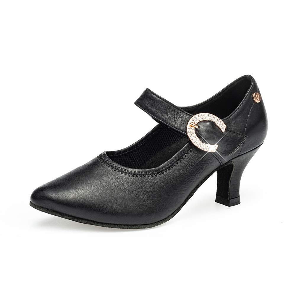 noir  WHL.LL Des Femmes Pointu PU Chaussures Danse Modernes Métal Boucle Talon Haut Chaussures Danse Salon Confortable Fond Mou Chaussures Danse Latine (Hauteur Du Talon  7Cm)