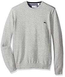Lacoste Men\'s Seg 1 Cotton Jersey Crewneck Sweater, AH0352-51, Silver/Grey Chine, 3