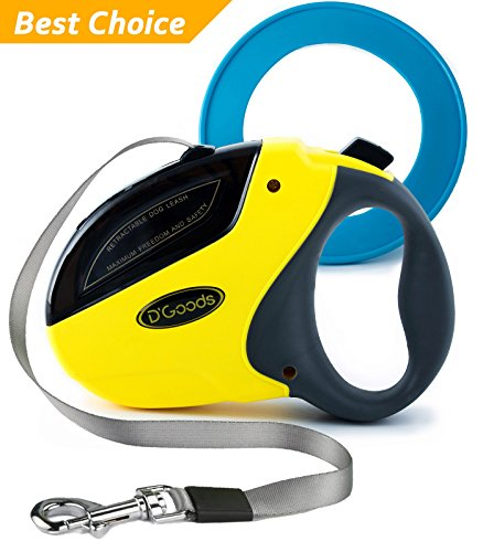 Retractable Dog Leash by D'Goods - Lifetime Replacement Guarantee - Long 16 ft Walking Leash Yellow for Small Medium Large Dogs up to 110lbs - Heavy Duty Nylon No Tangle – FREE FRISBEE
