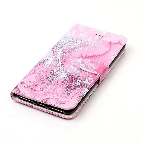 Funda iPhone 7 plus,SainCat Funda de cuero sintético tipo billetera con de Suave PU Carcasa Con Tapa y Cartera, Elegante Estuche Caja,Pintado en relieve árbol Cuero de la PU Leather Cubierta Plegable  Agua de mar rosa