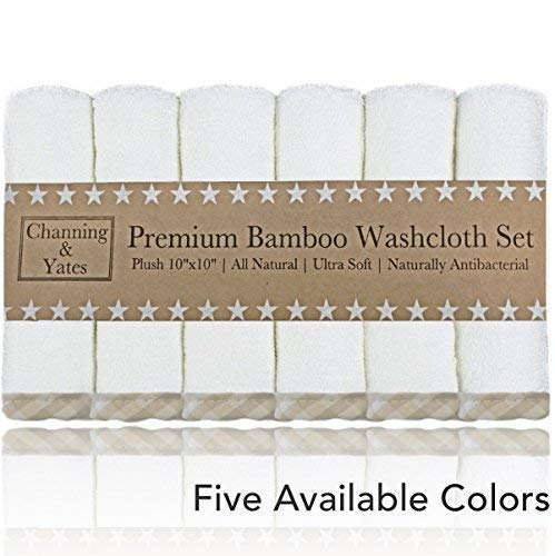 Premium Baby Washcloths - (6 Pack) Organic Baby Washcloth Bamboo - Ultra Soft Face Towels - 10 x 10 inch - Perfect Boutique Quality Baby Gifts & Registry Gift, Wash Cloths for Eczema (Beige/White)