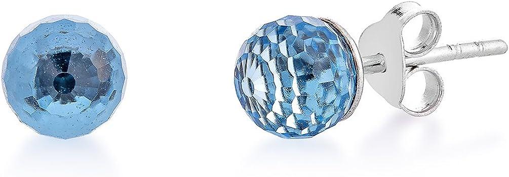 DTPSilver – Pendientes de plata de ley 925 y cristales de Swarovski con bolas redondas – Color: aguamarina