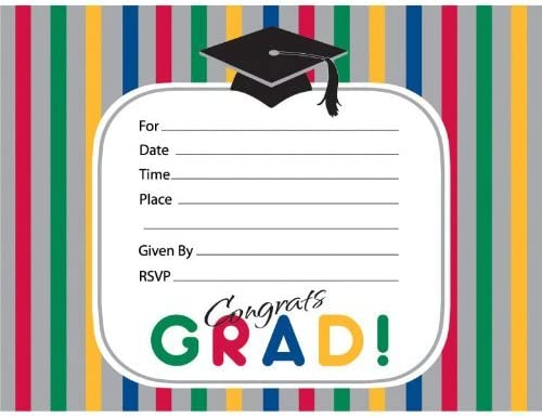 Graduation Stripes Invitations