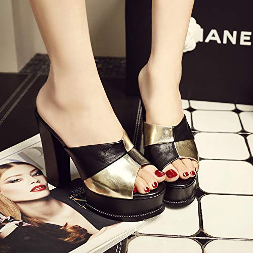 Mouths 13Cm Real Shoes Forty Heels Slippers Matching Word Test Summer Gold Super Color Leather KPHY Heels Black High Fish Rough BWgnqqP7
