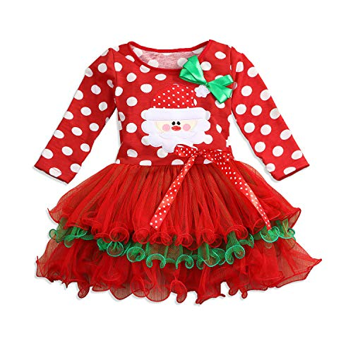 Christmas Toddler Baby Girls Dress Outfits Dot Costume Santa Princess Xmas Party Tutu Skirt Dresses Clothes (Dot, 2-3 T)]()