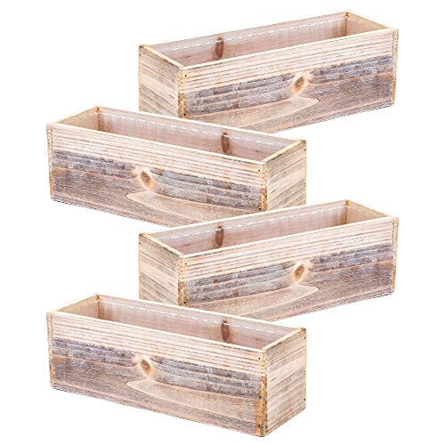 Planter Box Set - Wood Planter Box Set, Rustic Whitewash, Plastic Liner, 12x4 Inch Rectangular Flower Holder, Natural Wood Decor, Country Style, Home and Wedding Decorations, Garden Ornaments (Set of 4)