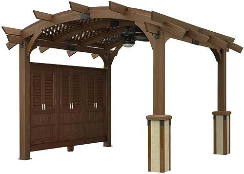 Outdoor GreatRoom Company Sonoma Pergola, 12×12-Feet, Mocha