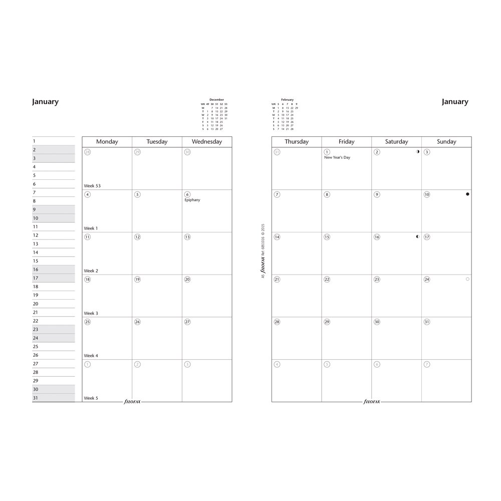 Filofax C68410-2017 Month on Two Pages Refill, January to December, 6-3/4-Inch by 3-3/4-Inch,English Blueline Canada C68410-17