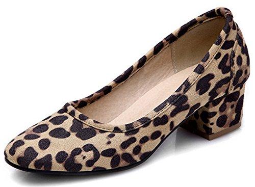 Leopard Peep Toe Pump Heel (Summerwhisper Women's Sexy Square Toe Low Cut Wide Work Shoes Block Mid Heel Pumps Leopard 8 B(M) US)