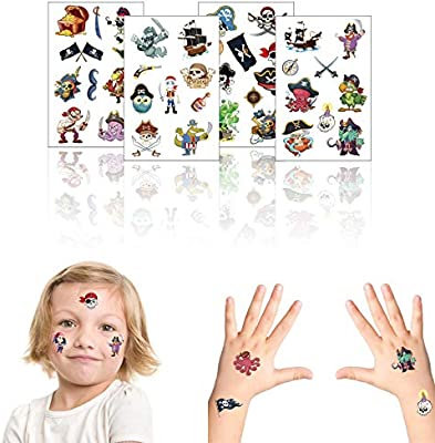 Matogle 24pcs Tatuaje Temporal para Niños Falso Pirata Pegatinas ...