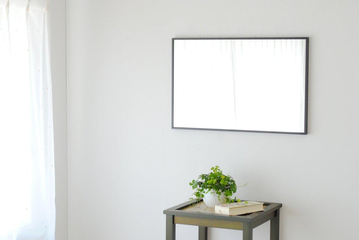 SENNOKI 47cm×72cm 細枠 全身 鏡 姿見 壁掛け ウォールミラー 長方形 日本製 (ブラック) B072WKRYZL ブラック ブラック
