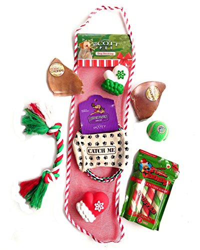 Combined Brands Scott Dog Christmas Stocking with Toys Treats and Pork Chomps – Includes Bonus Toys