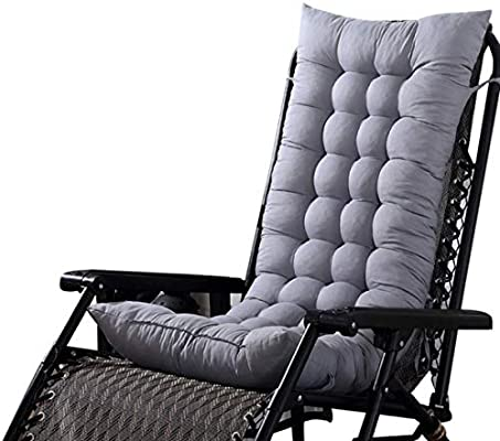 Marbeine - Cojín de Asiento para sillas, sillones o tumbonas de jardín, terraza Gruesa para Exterior, Funda de 125 x 48 x 8 cm, Gris