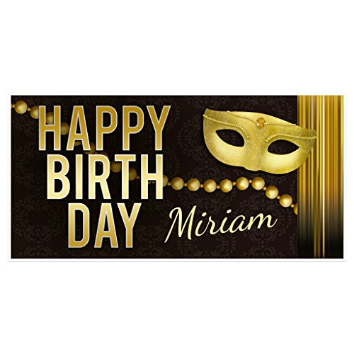 Masquerade Black and Gold Birthday Banner Personalized Party Backdrop ()