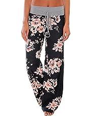 924350e1a8f554 AMiERY Women's Comfy Casual Pajama Pants Floral Print Drawstring Palazzo  Lounge Pants Wide Leg
