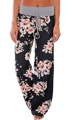 AMiERY Pajamas for Women Women's High Waist Casual Floral Print Drawstring Wide Leg Palazzo Pants Lounge Pajama Pants (Tag XL (US 10), Black)