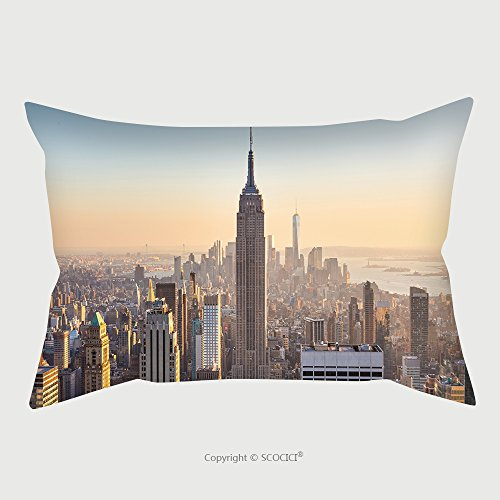 Custom Satin Pillowcase Protector New York City Manhattan Skyline In Sunset_97927166 Pillow Case Covers Decorative by chaoran