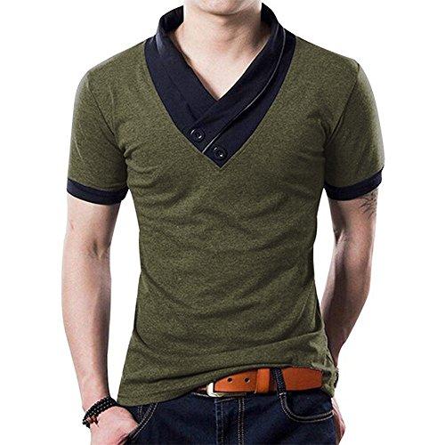 YTD 100% Cotton Mens Casual V-neck Button Slim