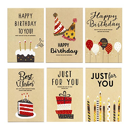 Birthday Card - 12 Pack Happy Birthday Cards Set - Unique Assorted Designs Blank on the Inside Birthday Greeting Card Bulk with Envelopes 4 x 6 Inches by EStars