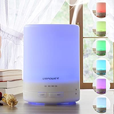 300ml Aroma Essential Oil Diffuser,URPOWER® Ultrasonic Air Humidifier with AUTO Shut off and 6-8 HOURS Continuous Diffusing - 7 Color Changing LED Lights and 4 Timer Settings for Home SPA Baby Room