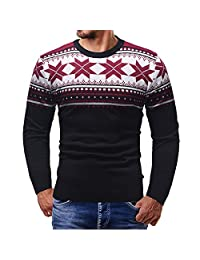 ThePass Christmas Pullover Knitted Top for Men Printed Sweater Outwear Blouse