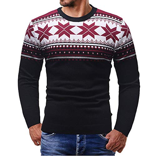 Gergeos Men Knitted Pullover Top Autumn Winter Christmas Printed Sweater Outwear Blouse(Black,Medium