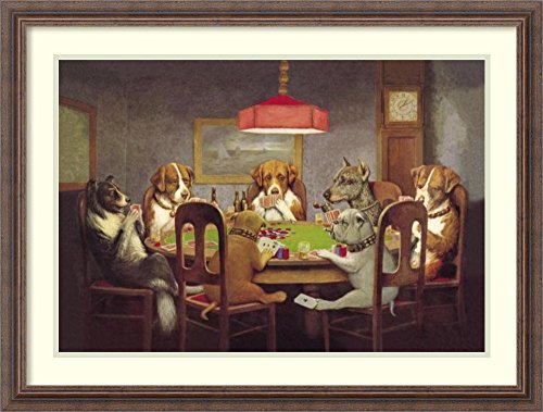 Framed Art Print 'Passing the Ace Under the Table Dog Poker 1903' by C.M. Coolidge by Amanti Art