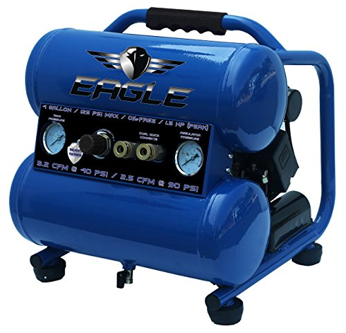 Eagle EA-4000 Silent Series 4000 Air Compressor 125 psi MAX Side Stack, Blue, 4 gallon (Best 4 Gallon Air Compressor)