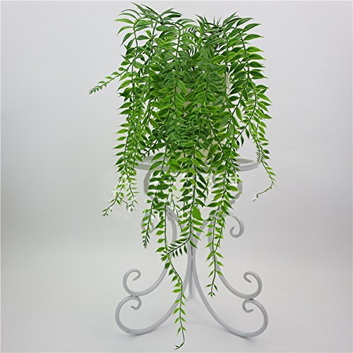 dezirZJjx Artificial Plants Artificial Weeping Willow Foliage Rattan Plant Office Home Garden Wedding Decor - Green