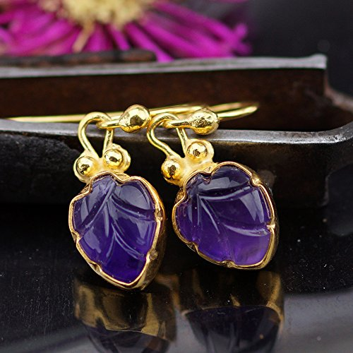 Sterling Silver 925k Carved Amethyst Hook Earrings 24k Gold Vermeil Handmade By Omer
