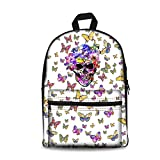 Cheap ArtistMixWay Skeleton Print Students School Book Bag Laptop Backpack For Kids,Skull & Butterfly