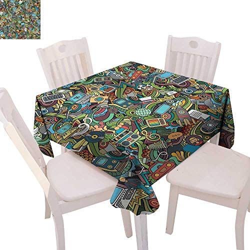(cobeDecor Doodle Dinner Picnic Table Cloth A Variety of Social Media Devices Drawn Abstract Manner Computer Photos Smartphone Waterproof Table Cover for Kitchen 54
