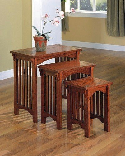3 Piece Oak Side Table (3-Piece Nesting Tables in Warm Mission Oak - Coaster)