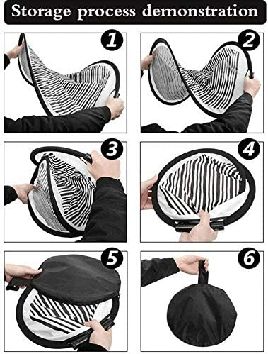 Yuhai-auto 80CM Circular Striped Foldable Reflector Board Suitable for Dent Repair of Car Vehicle Door Scratch and Hail Damages and Various Photography